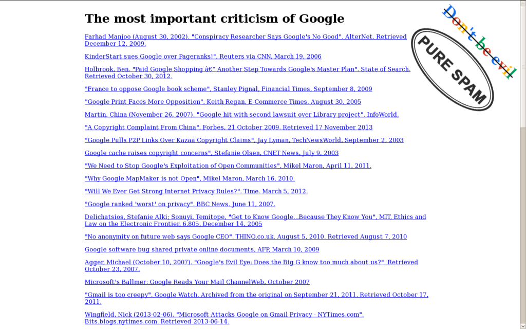 Criticism of Google