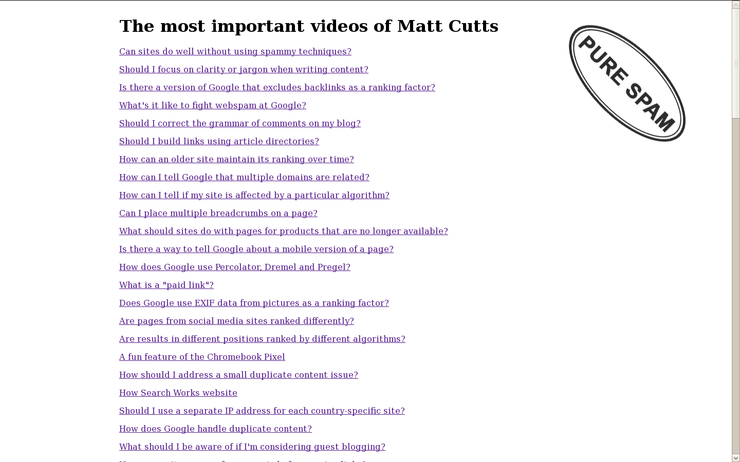 Matt Cutts - Pure spam